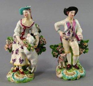 Derby figures of a shepherd