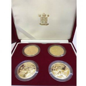 A set of four Royal Mint Issue Britannia design One Ounce Gold Bullion coins
