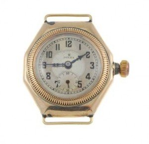 A Rolex watch head. 9ct yellow gold case, import hallmarked Glasgow 1927.