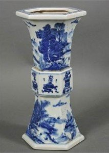 A Chinese blue and white hexagonal vase