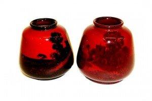 flambé glazed posy vases
