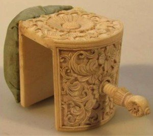 Indian ivory pin cushion