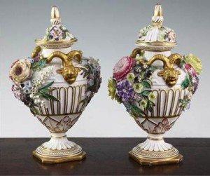 twin handled vases