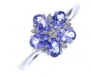 tanzanite floral cluster ring