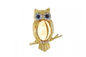 diamond owl brooch