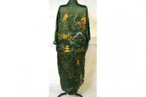 Chinese green satin robe