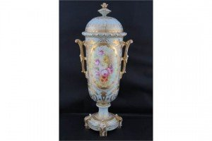 covered vase with handles