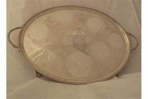 silver two handled tray