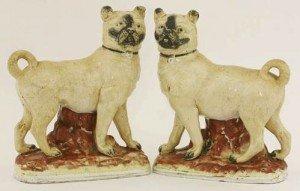 Staffordshire pottery Mastiff Dogs