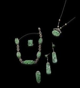 suite of jade jewellery