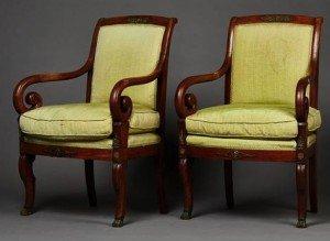 mahogany framed armchairs