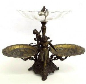 metal and glass tazza