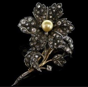 antique flower brooch