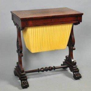 mahogany needlework table