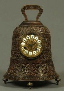 French bronze bell clock