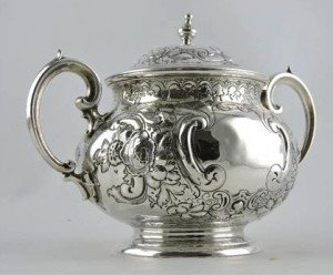 silver porringer and cover