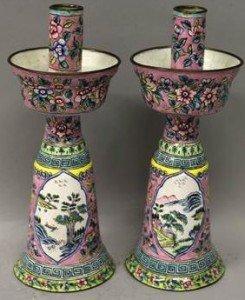 Canton enamel candlesticks