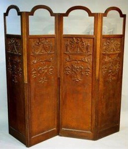 oak four-fold screen