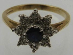 sapphire floral cluster ring