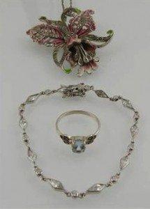 enamel floral pendant