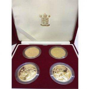 A set of four Royal Mint Issue Britannia design One Ounce Gold Bullion coins