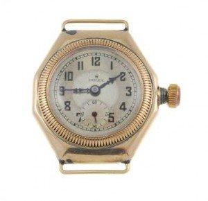 A Rolex watch head. 9ct yellow gold case, import hallmarked Glasgow 1927.