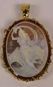 oval carved cameo brooch