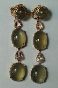 kunzite drop ear-pendants