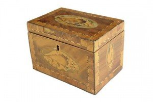 marquetry tea caddy