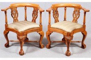 mahogany corner chairs