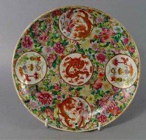 famille rose medallion dish