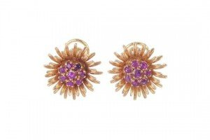 ruby floral ear studs