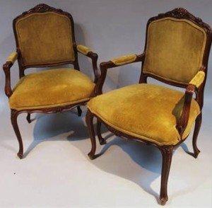 walnut finish open armchairs