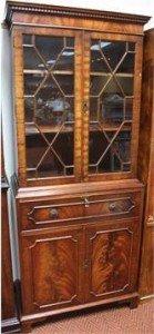 mahogany finish secretaire bookcase