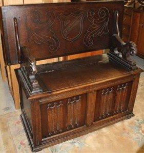 oak finish monk's bench