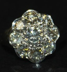 nine stone cluster ring