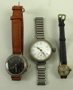 circular cased wristwatch