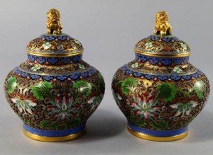 cloisonné jars and covers
