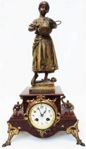 spelter ornate mantel clock