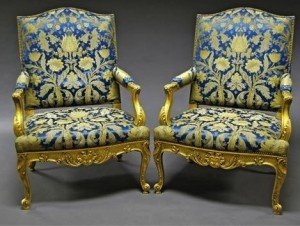 upholstered fauteuils
