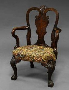 mahogany child's arm chair