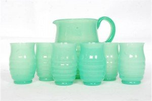 ribbed glass lemonade set