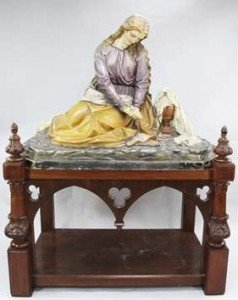 plaster figure of a seated woman