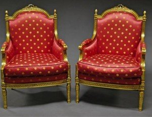 pink upholstered bergeres