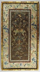 silk embroidered rectangular panel