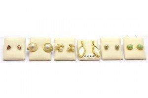 Six pairs of gem set earrings