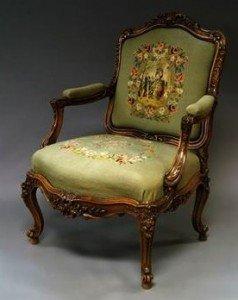 carved walnut arm chair