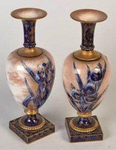 iris decorated vases