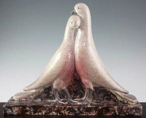pottery group of two doves