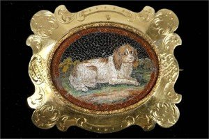 canine portrait brooch